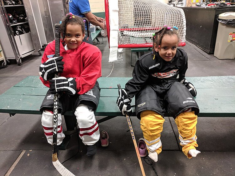 Amani and Sifa Abla live near Clark Park and are in the Learn to Skate program.