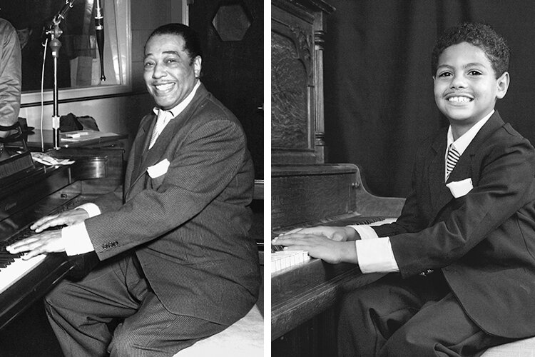 Duke Ellington, left, and Caleb as Ellington
