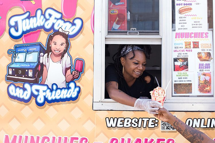 KaToya Scott serves ice cream from her mobile business, Junk Food and Friends, in Detroit.