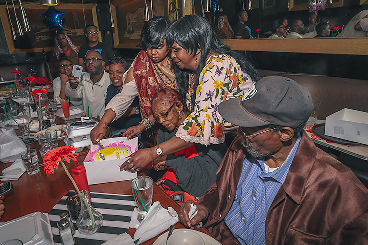 Five generations of family members show up for a birthday celebration at Baker's.