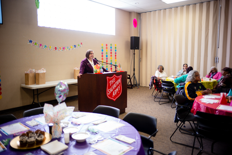 Senior Luncheon's at the Salvation Army regularly feature speakers.