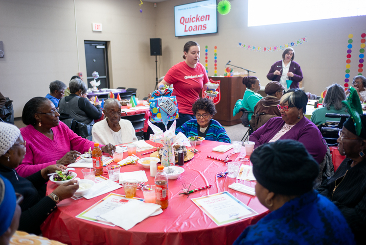 Quicken Loans provide volunteers to the monthly Salvation army gathering.