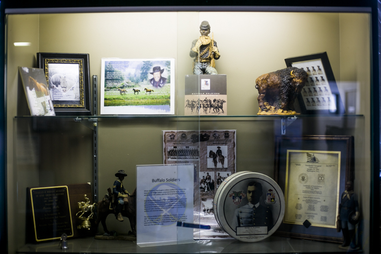 Buffalo Soldier memorabilia on display at the BHSA center.