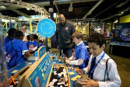 Students learn through activities at the Michigan Science Center.