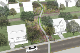 This rendering gives a feel for how the nonmotorized route will look. Courtesy City of Detroit.