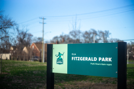 A sign welcomes visitors to Ella Fitzgerald Park.
