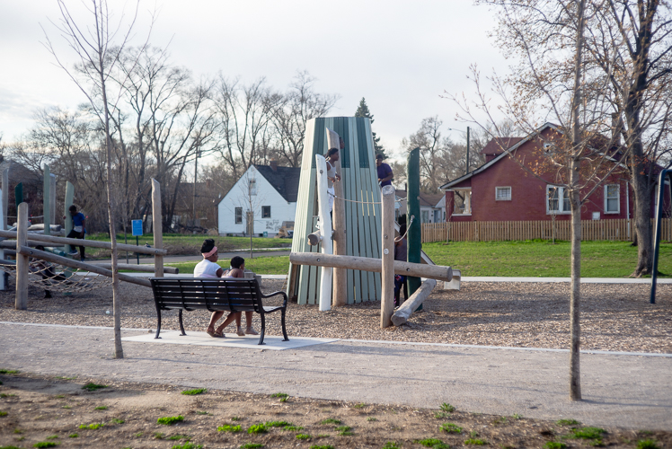 A playscape at Ella Fitzgerald Park.