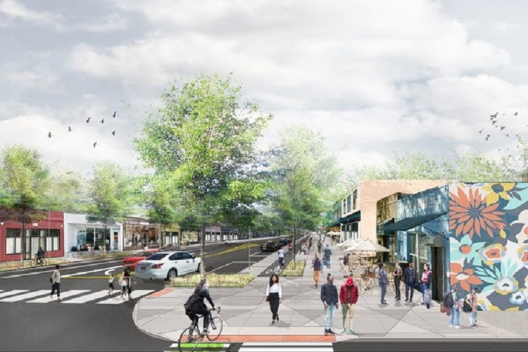 A rendering of the streetscaping planned for Livernois.