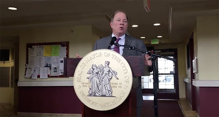 Mayor Mike Duggan announces the partnership that aims to preserve affordable housing in Detroit.