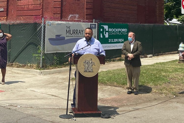 Developer W. Emery Matthews speaks at a press conference announcing the development.
