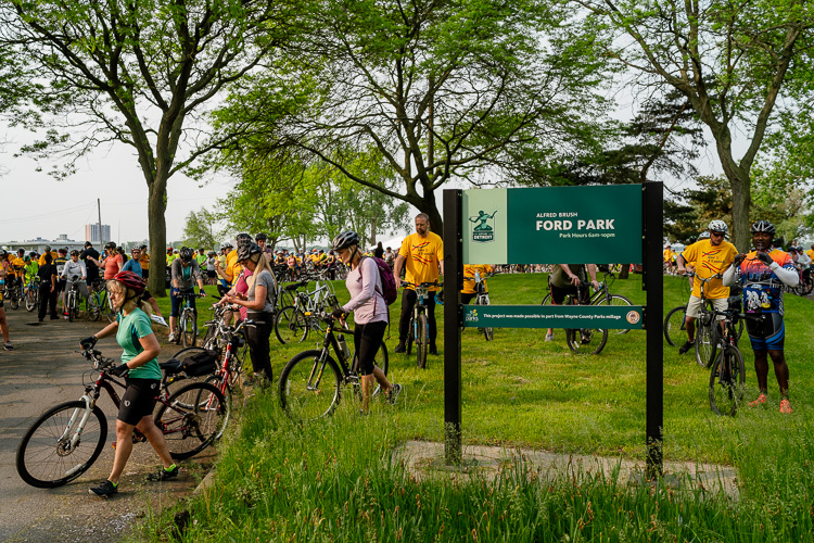 Bicyclists gather at A.B. Ford Park in Jefferson Chalmers for Tour d'Eastside.
