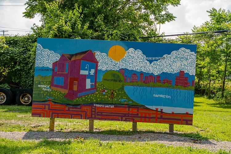 A mural at the Hamilton Rainscape in Chandler Park.