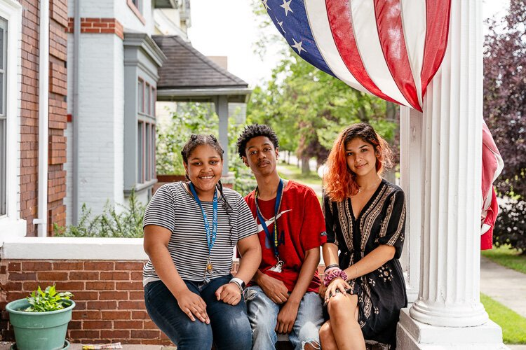 Harmony Anthony-Tigue, Joshua Anthony-Tigue, and Freya Davis are youth ambassadors in the North End Neighborhood Patrol.
