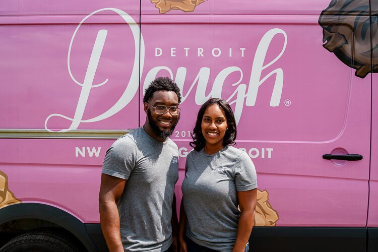 "Daniel and Victoria Washington are two of the three co-founders of Detroit Dough. Washington had ""NW Goldberg"" emblazoned on the side of the truck."