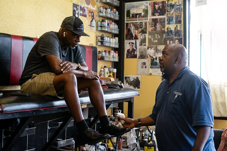 Derrick Adams comes to get his shoes shined around every other month at Reflections, and he has been a customer of Boggon's for 40 years.