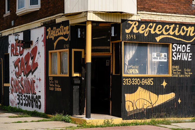 David Boggon, nephew of the owner of Red's Jazz Shoe Shine, operates Reflections down the street from where Red's Jazz Shoe Shine will reopen.