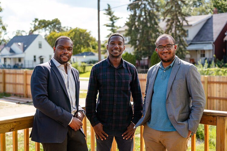 Century Partners' David Alade, Ishma Best, and Andrew Colom. Alade says his firm is excited to be working on the project and was motivated partly by a desire to bring development attention to a different part of Detroit.