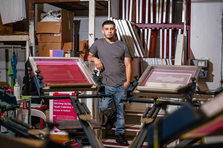 The graffiti David Camarena saw in his neighborhood was an early artistic inspiration, but after he took a daylong screen-printing workshop at Grace in Action's summer camp, he found his medium of choice.