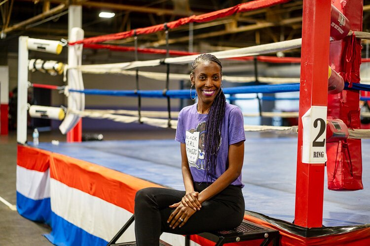 Brittany Rhodes at Downtown Boxing Gym, where she tutors girls in math. She is the founder of Black Girl MATHgic, a subscription box that aims to increase math confidence and decreasing math anxiety in girls.
