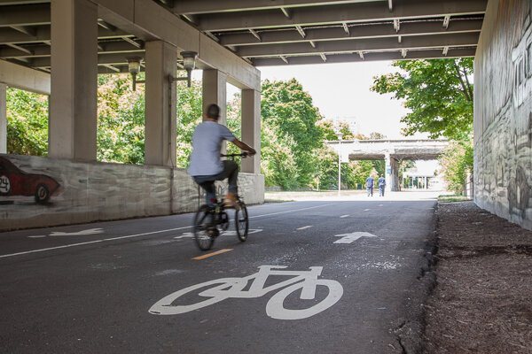 A cyclist on the Dequindre Cut.