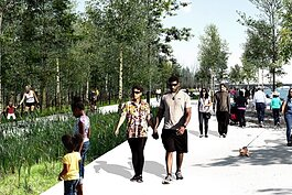 A rendering of a proposed extension of the Detroit RiverWalk.