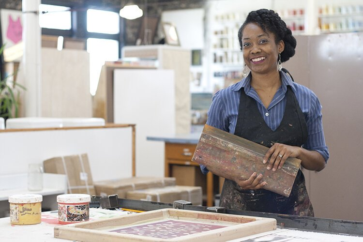 Shayla Johnson is the founder of Scarlet Crane, a textile printing house in Detroit.