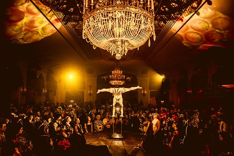 Thousands of elaborately costumed guests gather at Masonic Temple each year to immerse themselves in decadent sets and thrilling performances at Theatre Bizarre.