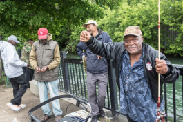 Using perch for bait along Fox Creek at Mariner's Park, this group of fishermen meet every Saturday in summer. Across the creek and behind the fence is Grosse Pointe Park.