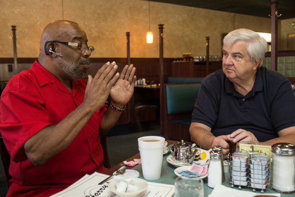 Chris Samuel, father of Christina Samuel, and Dave Lawrence, grandfather of Paige Stalker. The men have forged a bond out of grief, and meet regularly here at Harry's Restaurant in Grosse Pointe.