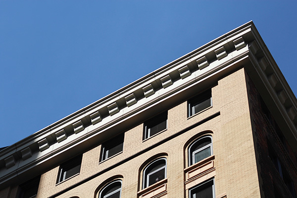 The Detroit Savings Bank's recently recreated cornice