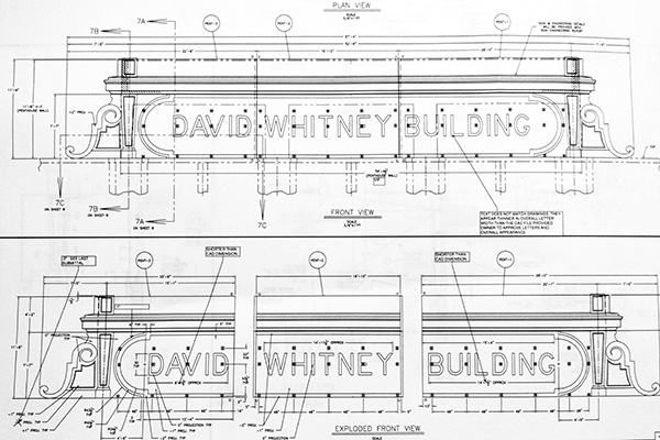 Glassline's plans for the David Whitney Building's pediment sign