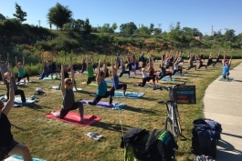 Yoga in the park in Dexter.