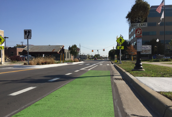 A new colored bike lane on W. 9 Mile Road in Ferndale