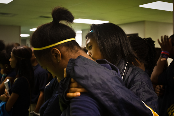 PEC's 9th Grade Academy students console each other during a Restorative Practice session on the effects of bullying.
