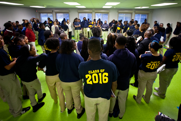 Ninth grade academy students begin morning Restorative Practice session