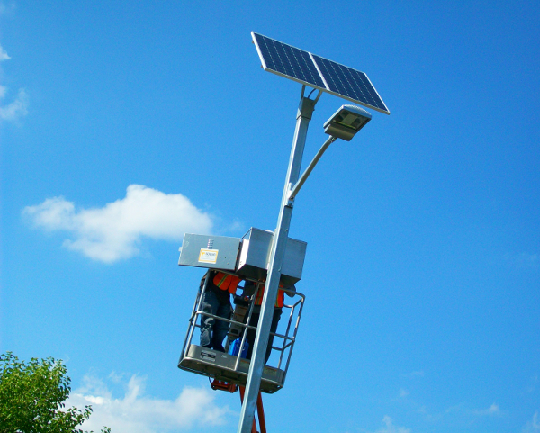 Soulardarity solar powered streetlight