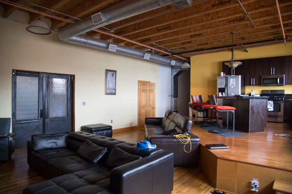Two-tiered loft living in the Leland Lofts