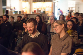 Radio Campfire's audience at a recent event in Ann Arbor