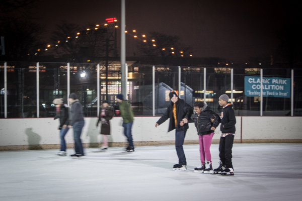 Skating on the ice rink at Clark Park