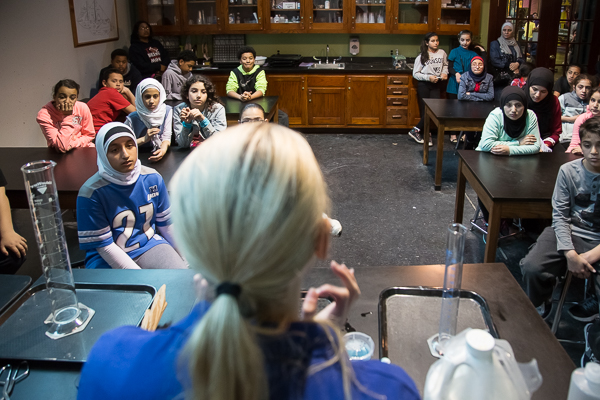 A class at the Michigan Science Center