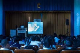Students at Cooke Elementary watch the DSO via webcast