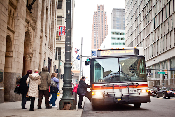 SMART bus in downtown Detroit