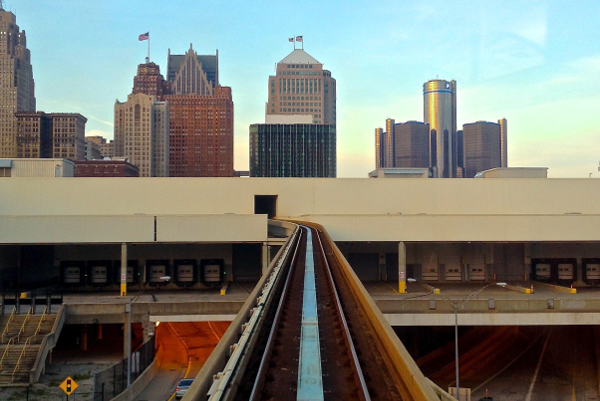 The People Mover track where it enters Cobo Center