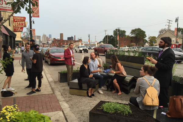 People enjoying the Michigan Avenue parklet