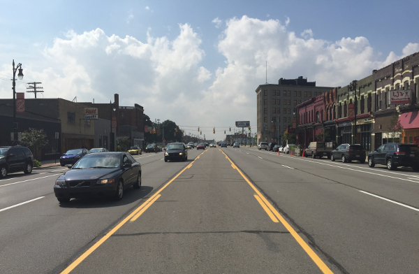 Michigan Avenue is seven lanes wide between 14th and Wabash streets in Corktown