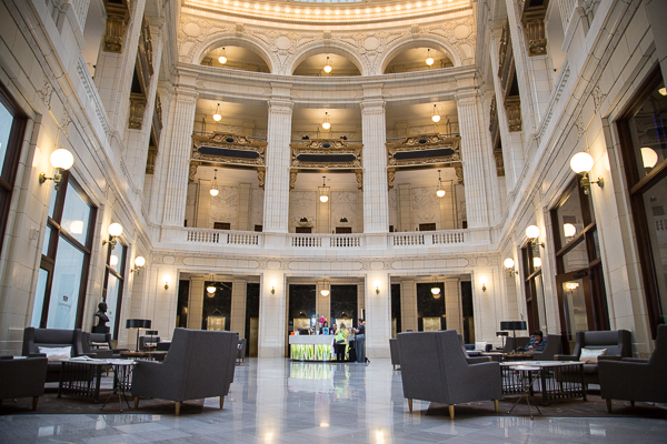The lobby of the David Whitney Building