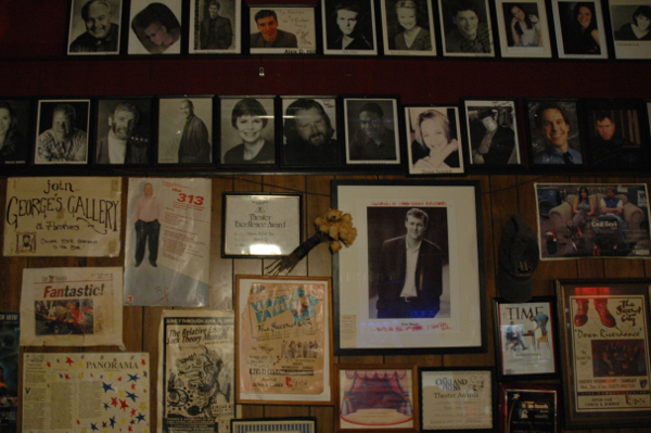 The wall of fame at 7 brothers proudly displays head shots of the various actors who've visited the bar.