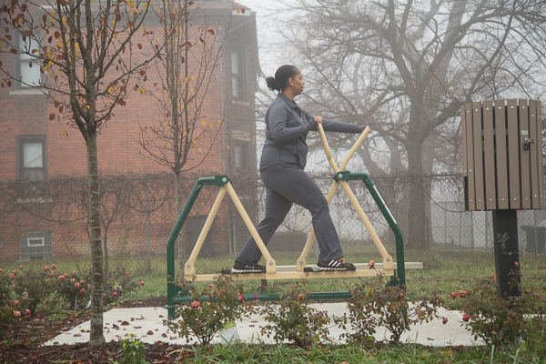 A Piety Hill resident enjoy working out in their neighborhood