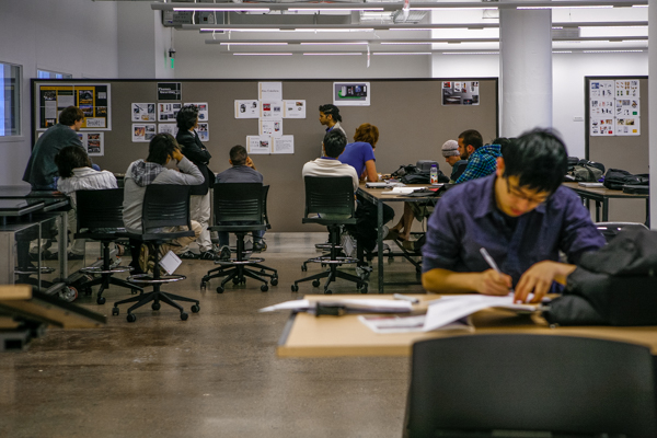 Students at work inside CCS's A. Alfred Taubman Center for Design Education