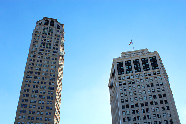 Old friends: The Broderick Tower (left) and the David Whitney Building